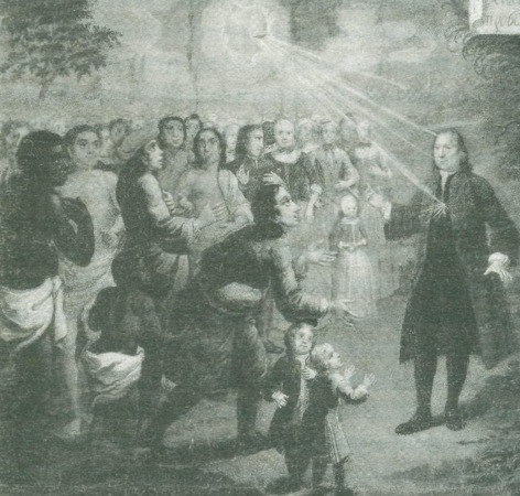 Count Zinzendorf, the Moravian leader, preaches the gospel
