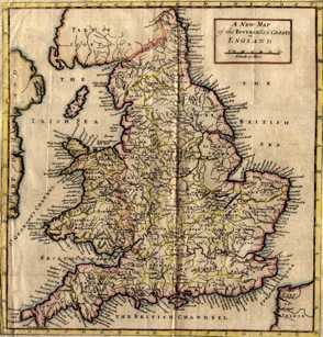 Early 18th C map of England and Wales