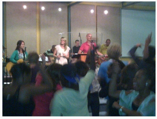 Evan Rogers leading worship at Jubilee Community Church, Cape Town when the people refused to end the service.