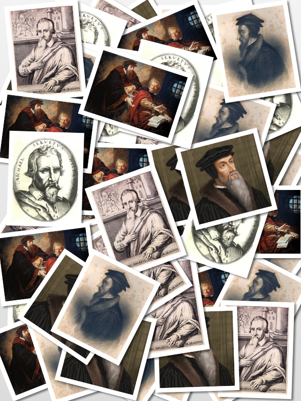 Collage of Calvin and Servetus